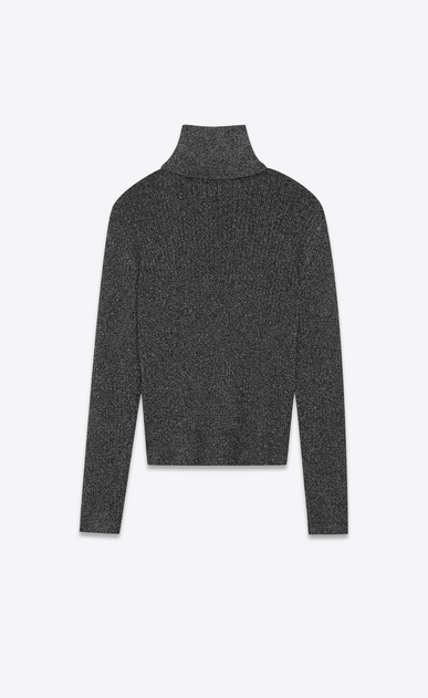SAINT LAURENT Knitwear Tops U Roll-neck sweater in a black and gold lurex knit b_V4