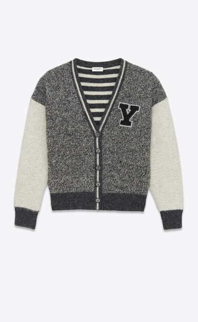 SAINT LAURENT Knitwear Tops U Varsity cardigan in flecked gray and ecru wool with Y-patch a_V4