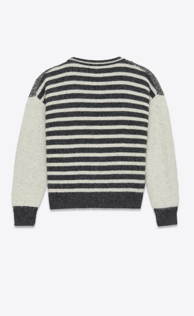 SAINT LAURENT Knitwear Tops U Varsity cardigan in flecked gray and ecru wool with Y-patch b_V4