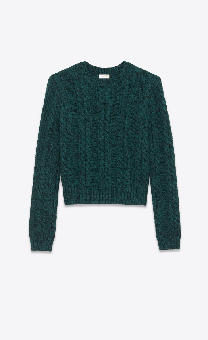 Saint Laurent Round Neck Sweater In Green Cable Knit Wool Ysl