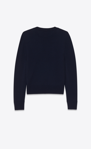 SAINT LAURENT Knitwear Tops Woman Navy blue loose-fit sweater with Loulou embroidered in ivory b_V4