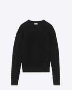 SAINT LAURENT Knitwear Tops D Round-neck sweater in Aran cable-knit black wool f