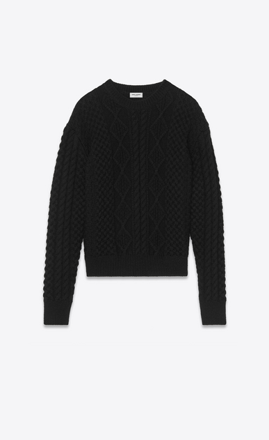 SAINT LAURENT Knitwear Tops D Round-neck sweater in Aran cable-knit black wool a_V4
