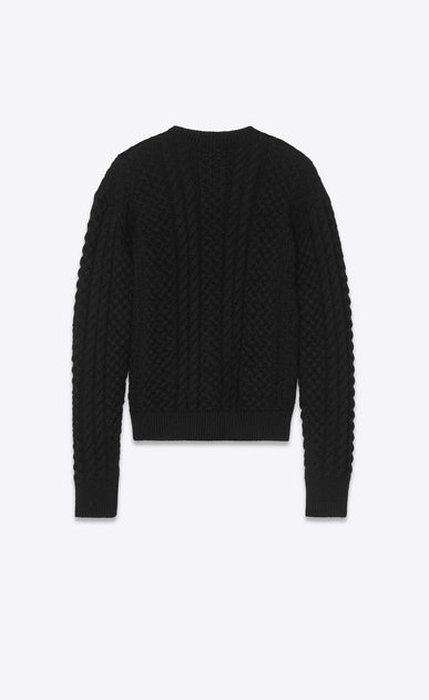 SAINT LAURENT Knitwear Tops D Round-neck sweater in Aran cable-knit black wool b_V4