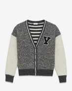 SAINT LAURENT Knitwear Tops D Varsity cardigan in flecked gray and ecru wool with Y-patch f