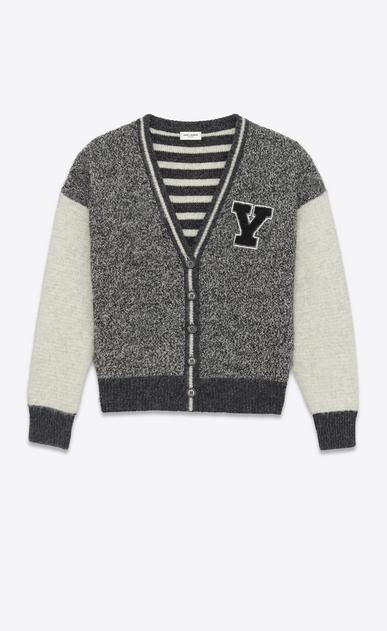 SAINT LAURENT Stricktops D Grau melierte und gebrochen weiße College-Jacke aus Wolle mit Y-Patch a_V4