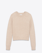 SAINT LAURENT Knitwear Tops D Beige round neck sweater in boiled wool f