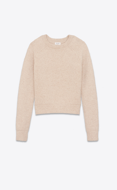 SAINT LAURENT Knitwear Tops D Beige round neck sweater in boiled wool a_V4