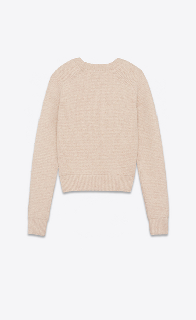 SAINT LAURENT Knitwear Tops D Beige round neck sweater in boiled wool b_V4