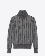 SAINT LAURENT Knitwear Tops D Dark gray turtleneck sweater in brushed mohair f