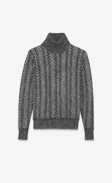 SAINT LAURENT Knitwear Tops D Dark gray turtleneck sweater in brushed mohair a_V4