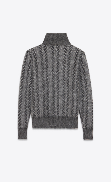 SAINT LAURENT Knitwear Tops D Dark gray turtleneck sweater in brushed mohair b_V4