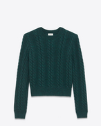 SAINT LAURENT Knitwear Tops D Round-neck sweater in green cable-knit wool f