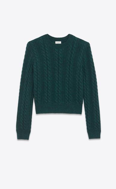 SAINT LAURENT Top Tricot D Maglione girocollo verde in lana Aran a maglia intrecciata a_V4