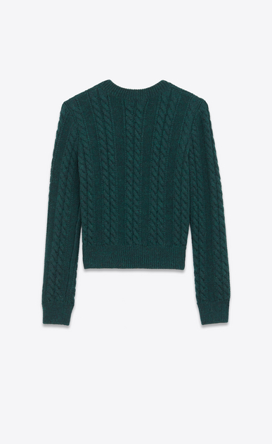 SAINT LAURENT Knitwear Tops D Round-neck sweater in green cable-knit wool b_V4