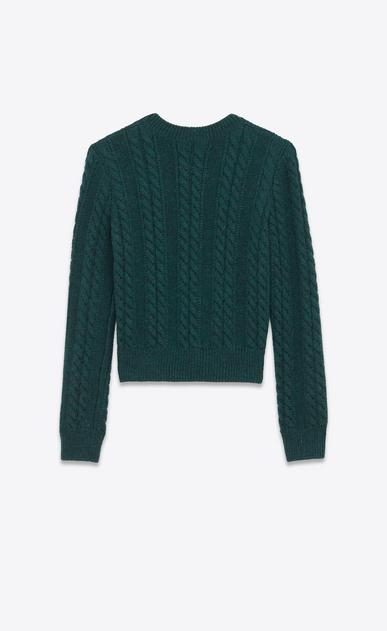 SAINT LAURENT Top Tricot D Maglione girocollo verde in lana Aran a maglia intrecciata b_V4