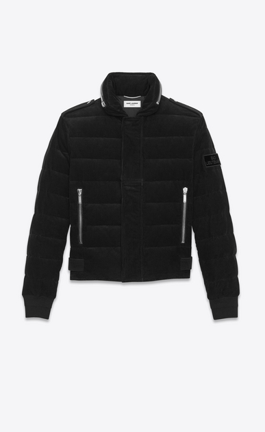 SAINT LAURENT Coats U Down Jacket in Black Corduroy a_V4