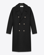 SAINT LAURENT Coats D Oversized officer coat in black wool f