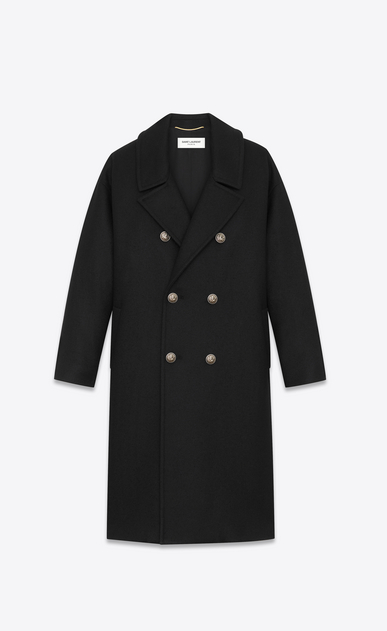 Oversized officer coat in black wool