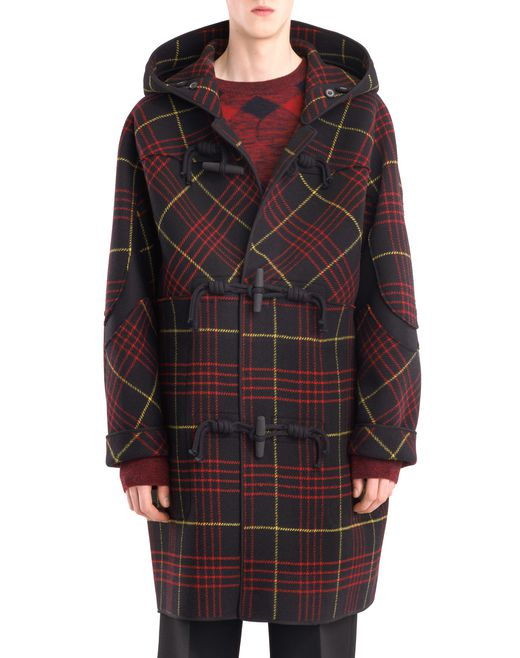 lanvin checkered duffle coat men