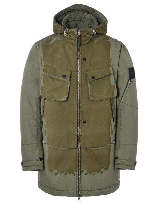 STONE ISLAND SHADOW PROJECT Mid-length jacket 40303 LASER ENGRAVED PARKA WITH ARTICULATION TUNNELS (DAVID-TC) SINGLE LAYER FABRIC - GARMENT DYED WITH ANTI-DROP AGENT