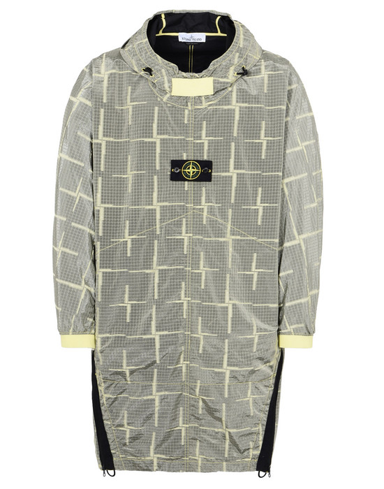 STONE ISLAND LONG JACKET 709J4 SI HOUSE CHECK JACQUARD ON NYLON METAL BLACK WATRO