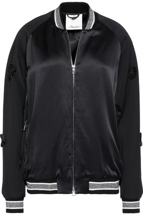 3.1 PHILLIP LIM Appliquéd wool-paneled satin bomber jacket