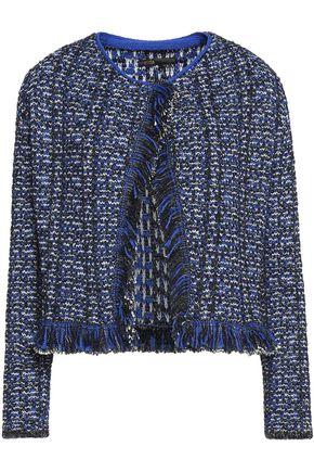 MAJE Marius fringed metallic bouclé jacket