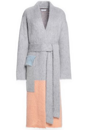 VIONNET Belted color-block mohair-blend coat