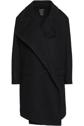 AGNONA Leather-trimmed cashmere coat