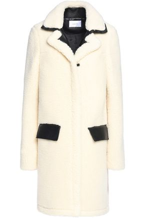 CARVEN Faux leather-trimmed wool-blend coat