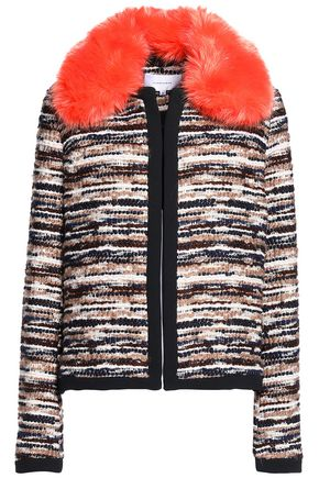 CARVEN Faux fur-trimmed tweed jacket