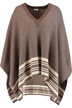 VINCE. Striped wool and cashmere-blend poncho