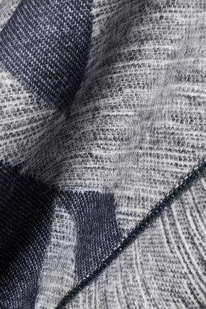 MAJE Ermine fringed jacquard-knit poncho