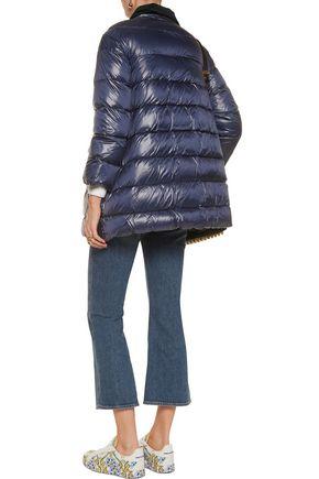 REDValentino Velvet-trimmed padded shell coat