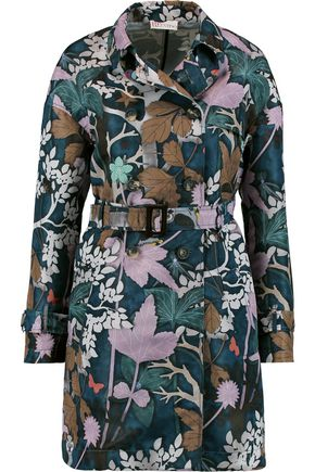 REDValentino Printed satin-twill trench coat