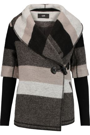 LINE Blossom striped wool-blend felt coat