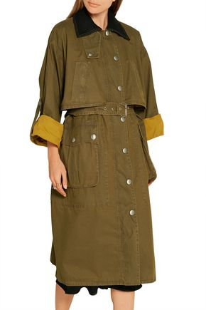 MIU MIU Wool-trimmed waxed-cotton coat