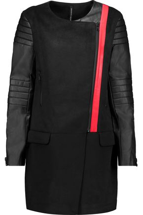 W118 by WALTER BAKER Cortney asymmetric faux leather-paneled woven coat