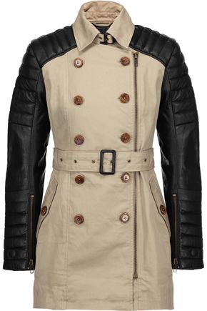 W118 by WALTER BAKER Keanu quilted leather-paneled cotton trench coat