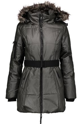 W118 by WALTER BAKER Kim faux fur-trimmed coated cotton hooded coat