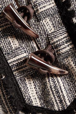 10 CROSBY DEREK LAM Embellished striped cotton-blend cape