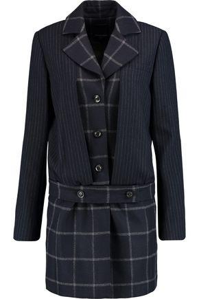 MARISSA WEBB Max pinstriped and checked wool-blend coat