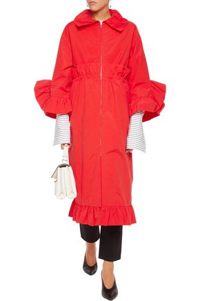 GOEN.J Ruffle-trimmed drawstring cotton-blend poplin coat