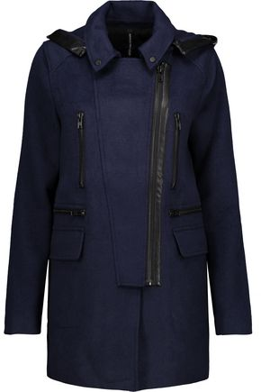 W118 by WALTER BAKER Carol faux leather-trimmed woven hooded coat