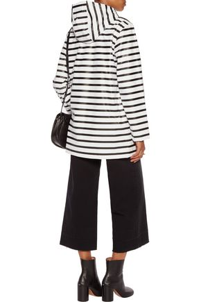 PETIT BATEAU Striped coated shell hooded coat