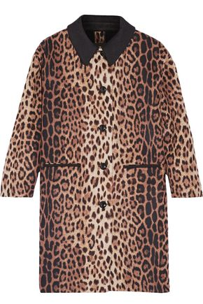 BOUTIQUE MOSCHINO Leopard-print wool-blend coat