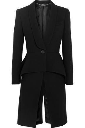 ALEXANDER MCQUEEN Wool-blend crepe peplum coat