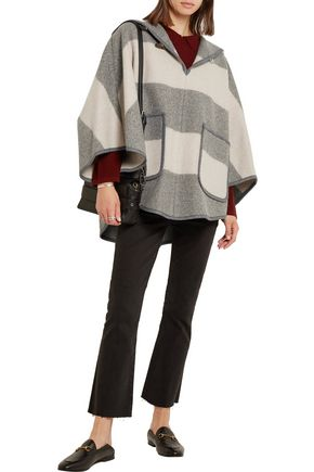 ... M.I.H JEANS Honor hooded striped wool-blend twill cape ...