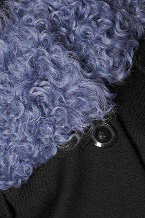 JUST CAVALLI Faux shearling-paneled twill coat